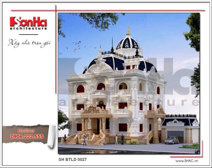 KTS SHAC thiết kế mẫu biệt thự 3 tầng mái vòm dựa trên quy luật đối xứng ứng dụng cột cổ điển mái đón sảnh và ban công khiến công trình biệt thự đẹp mạnh mẽ và chắc chắn