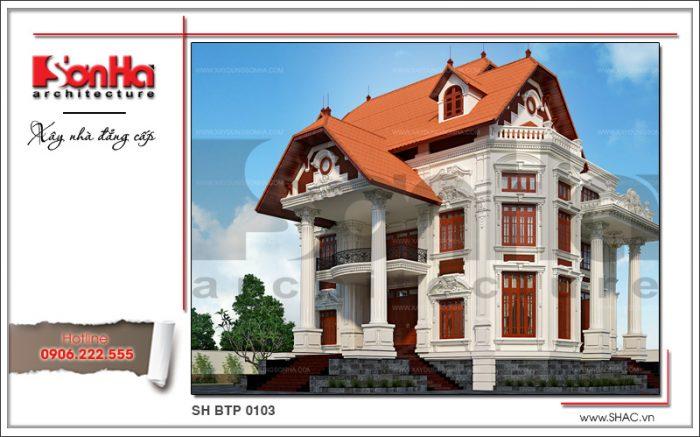 Mẫu biệt thự kiểu Pháp cổ điển 3 tầng đẹp thiết kế ấn tượng với bố cục chặt chẽ và mạch lạc