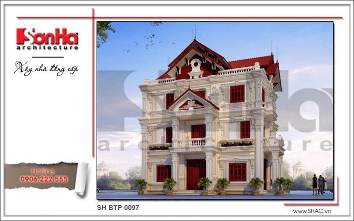 Mẫu nhà biệt thự Pháp 3 tầng cổ điển tại Hải Dương còn được đánh giá cao cả kiến trúc nội thất