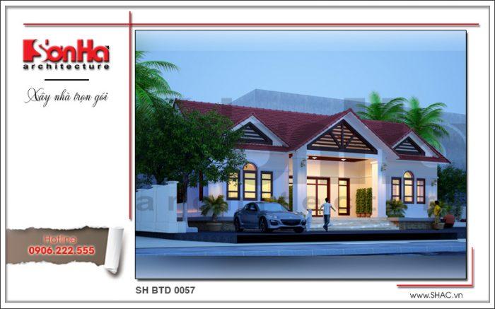 Mẫu thiết kế nhà biệt thự hiện đại 1 tầng mái ngói đỏ ấn tượng thương hiệu SHAC