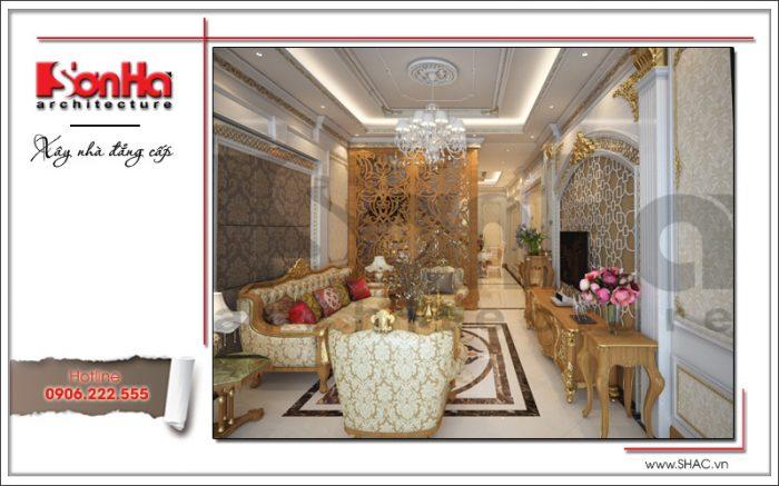 Mẫu thiết kế nội thất phòng khách là bộ ghế sofa được đầu tư thiết kế đẹp từng tiểu tiết