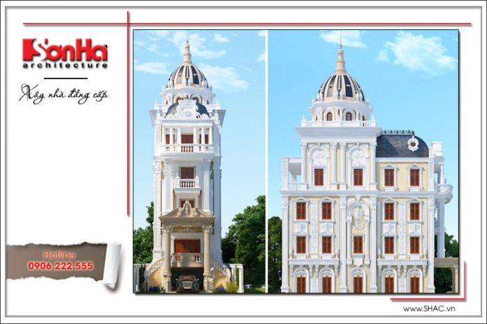 Ngôi biệt thự 6 tầng kiến trúc cổ điển châu Âu nổi bật với đường nét có duyên và gam màu đẹp