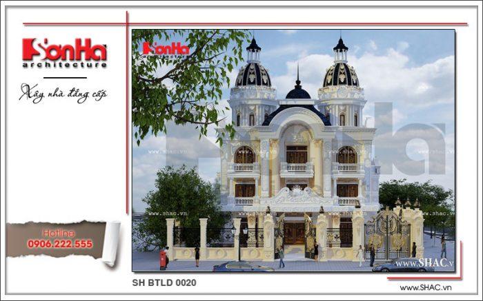 Phối cảnh kiến trúc của ngôi biêt thự 3 tầng phong cách cổ điển châu Âu thương hiệu SHAC