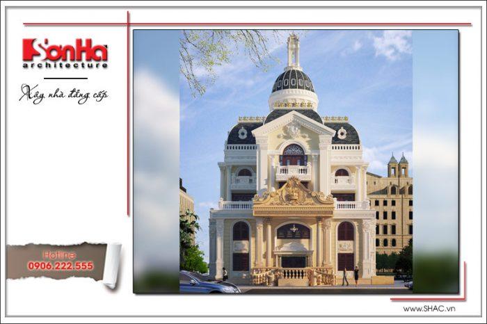 Phối cảnh thiết kế lâu đài 5 tầng cổ điển kiểu Pháp sang trọng bởi các đường nét tinh tế