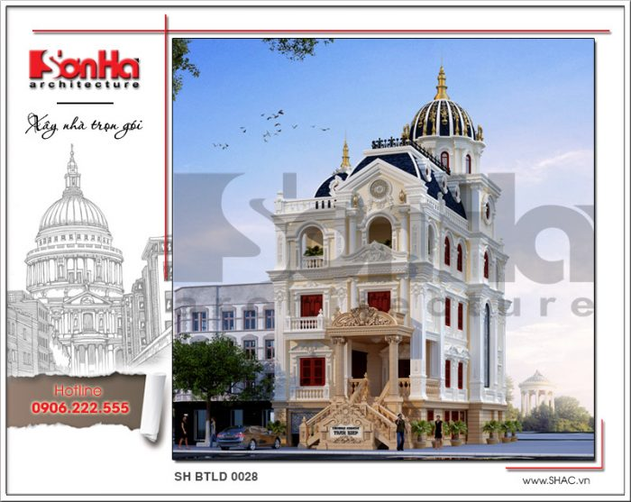 Phương án thiết kế ấn tượng của ngôi biệt thự cổ điển lâu đài Pháp 3 tầng 1 tum tại Lạng Sơn