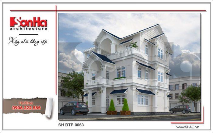 Phương án thiết kế kiến trúc của biệt thự bán cổ điển 3 tầng tại Quảng Ninh sang trọng tinh tế