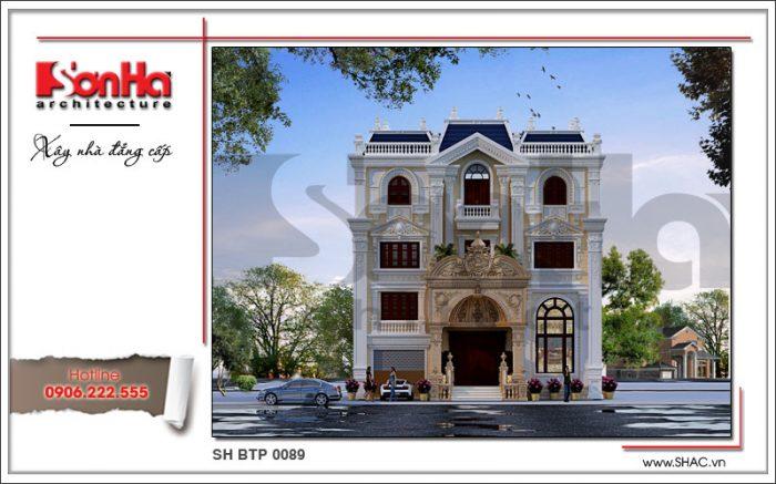 Phương án thiết kế mặt tiền đẹp ấn tượng cho mẫu biệt thự kiến trúc cổ điển châu Âu 4 tầng