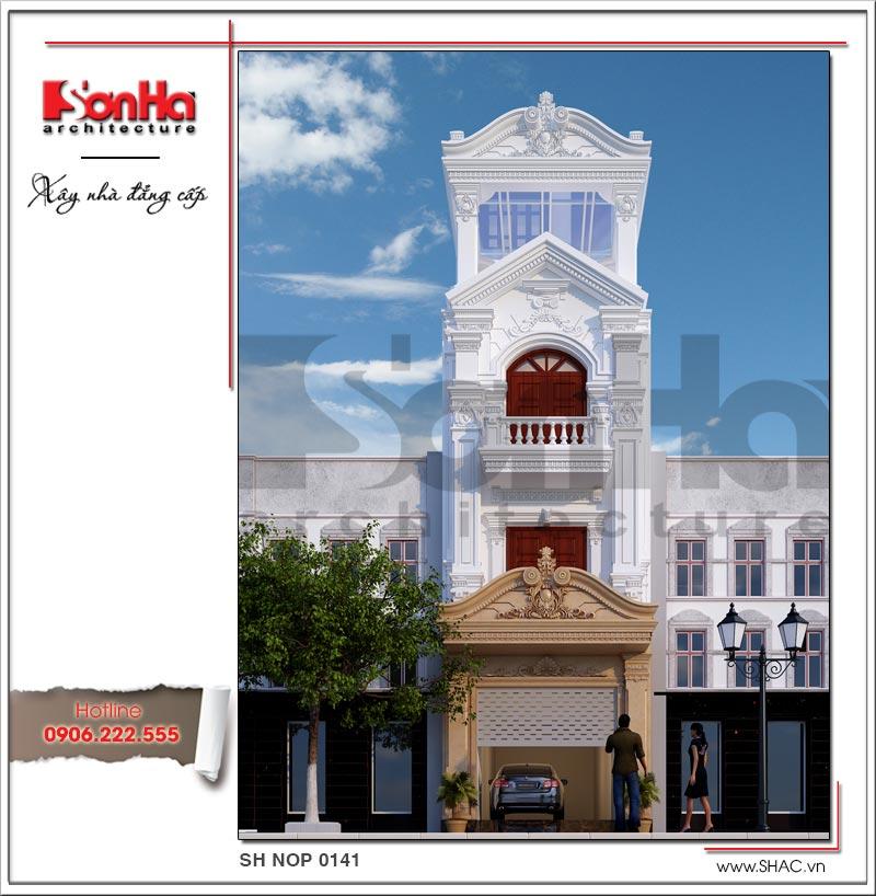 Phương án thiết kế nhà phố cổ điển 4 tầng sang trọng tại Vân Đồn (Quảng Ninh) được đánh giá cao