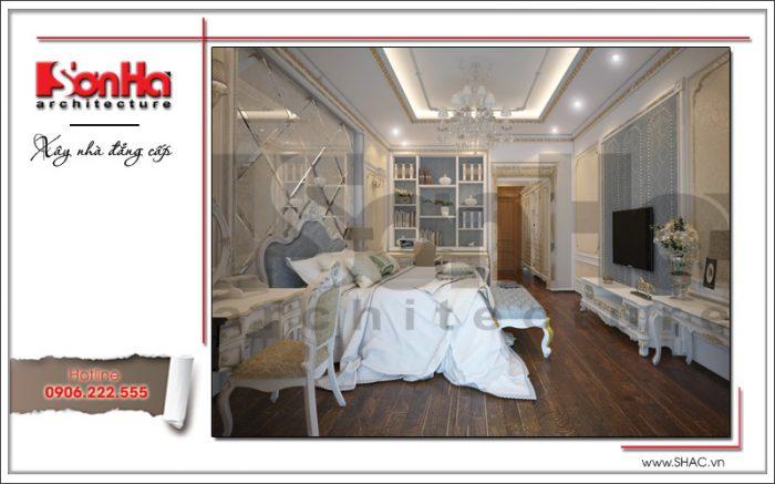 Phương án thiết kế phòng ngủ nhà phố cổ điển với màu sắc trang trí hài hòa và bày trí ngăn nắp