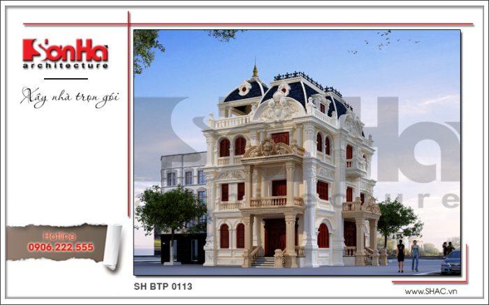 Thiết kế biệt thự cổ điển 4 tầng kiểu châu Âu đẹp với các đường nét có duyên sắp xếp mạch lạc
