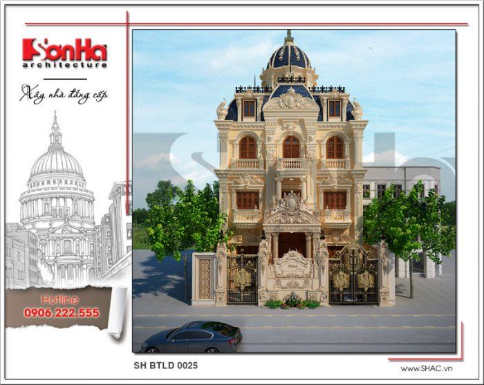 Thiết kế biệt thự lâu đài kiểu Pháp cổ điển 4 tầng điển hình biệt thự đẹp tại Hải Phòng 2018
