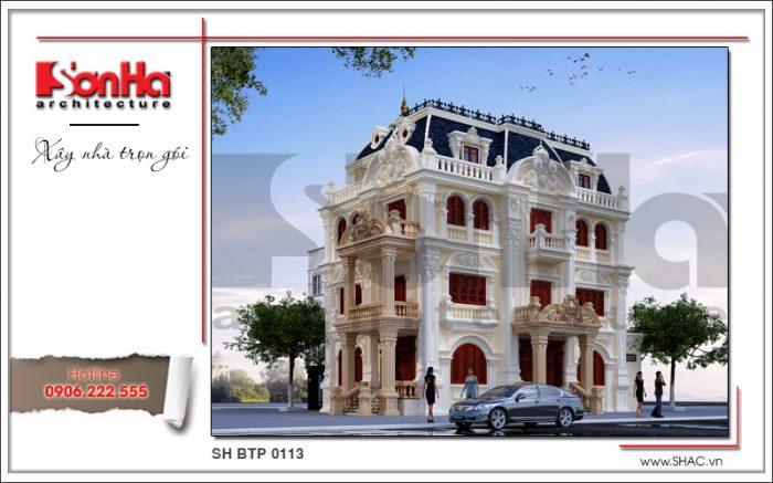 Thiết kế kiến trúc mặt tiền đẹp của mẫu nhà biệt thự 4 tầng kiểu lâu đài cổ điển tại Quảng Ninh