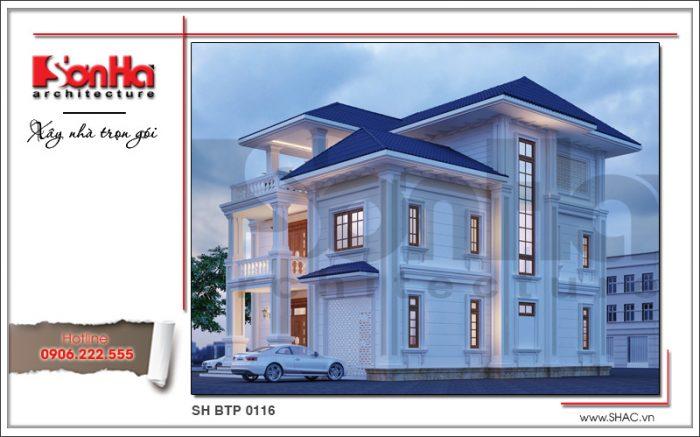 Tone màu sử dụng linh hoạt giúp thiết kế kiến trúc biệt thự tân cổ điển càng sang trọng