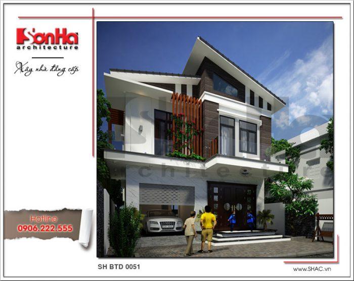 Từ mọi góc view thiết kế của ngôi biệt thự 2 tầng kiểu Thái đều dễ dàng tạo thiện cảm