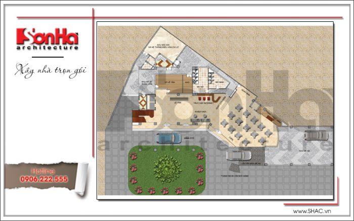 Bản vẽ mặt bằng công năng tầng 1 khách sạn tiêu chuẩn quốc tế 3 sao tại Hạ Long