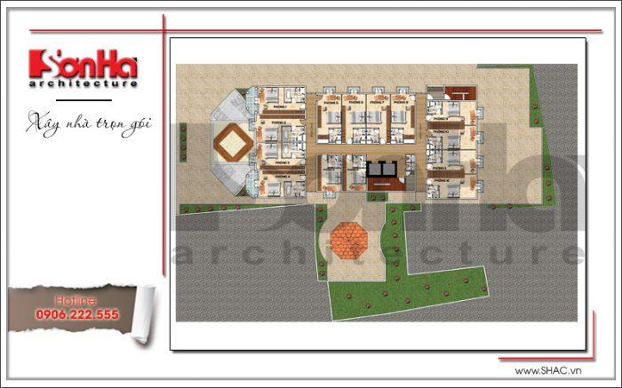 Bản vẽ mặt bằng tầng 1 đến tầng 4 khách sạn tiêu chuẩn 3 sao cổ điển tại Bến Tre