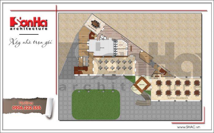 Bản vẽ mặt bằng công năng tầng 2 khách sạn 3 sao hiện đại tại Hạ Long