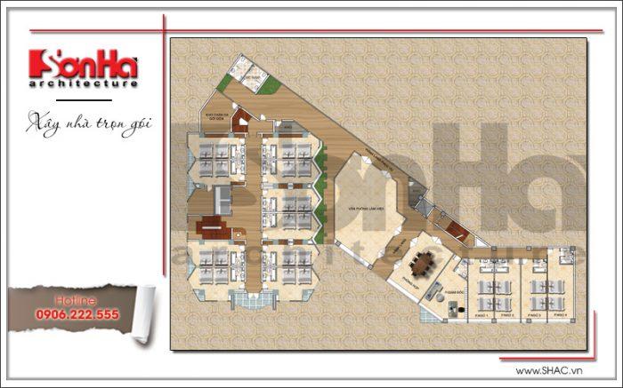 Bản vẽ mặt bằng công năng tầng 3 khách sạn 3 sao hiện đại tại Hạ Long