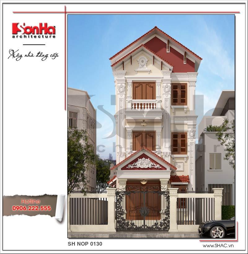 Bản vẽ thiết kế nhà phố cổ điển Pháp 3 tầng tại Hải Phòng được yêu thích và đánh giá cao
