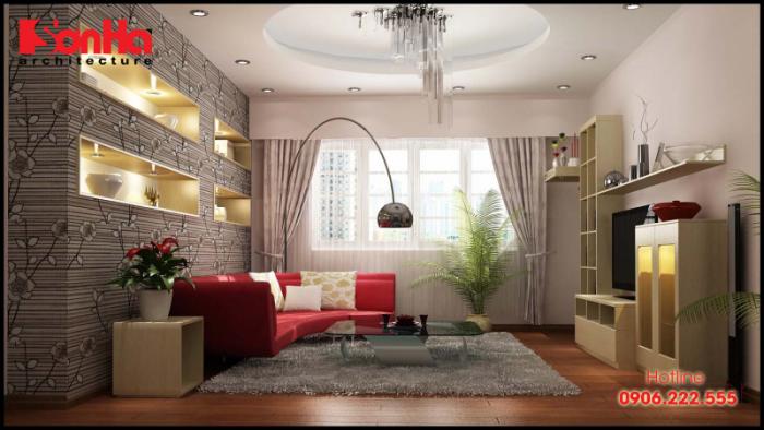Mẫu thiết kế nội thất phòng khách đẹp với rèm thanh nhã đa dạng về mẫu mã chủng loại