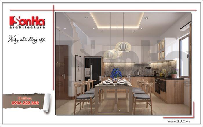 Căn phòng bếp ăn thiết kế nội thất phong cách hiện đại trong không gian thông thoáng tinh tế