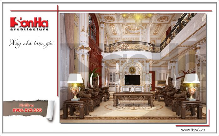 Choáng ngợp với không gian phòng khách biệt thự cổ điển được trang hoàng nội thất gỗ tự
