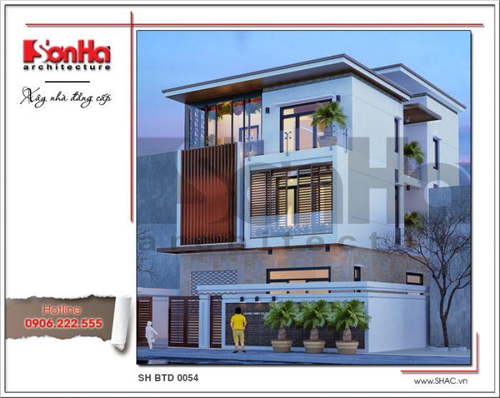 Đây cũng là một trong những điển hình của mẫu thiết kế biệt thự đẹp với loại mái bằng