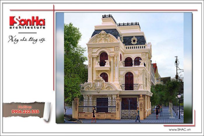 Điển hình của các kiểu mặt tiền biệt thự nhà phố đẹp được tạo nên từ đường nét cổ điển