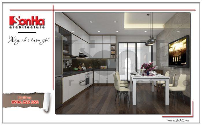 Giải pháp bố trí nội thất phòng bếp ăn nhà ống hiện đại rất gọn gàng, ngăn nắp, hợp thời