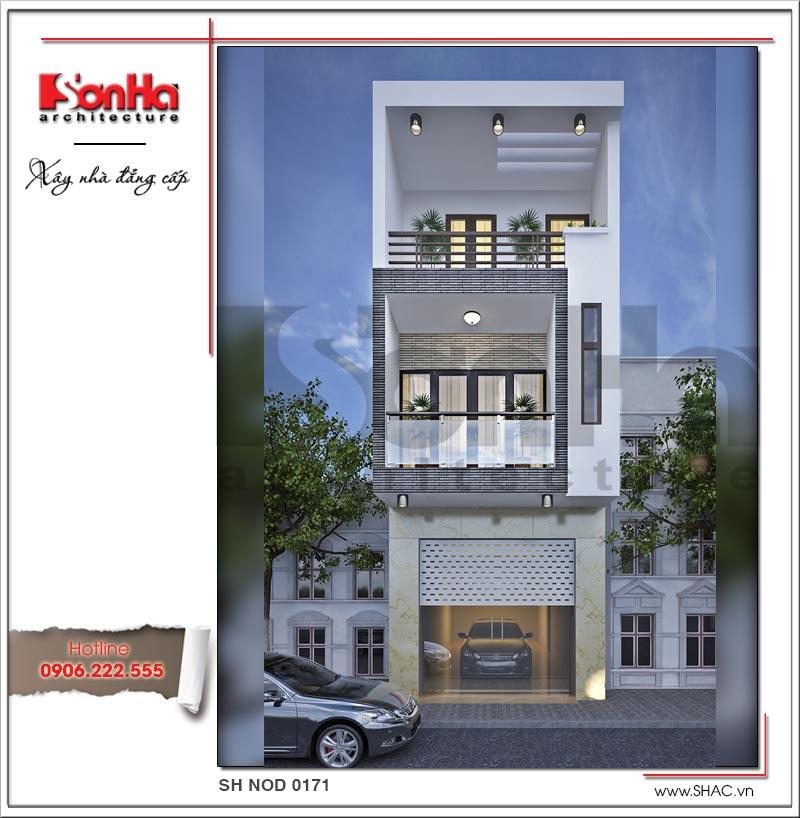 Hoàn thiện bản thiết kế nhà phố hiện đại 3 tầng mặt tiền hẹp tại Hải Phòng với bố cục chặt chẽ