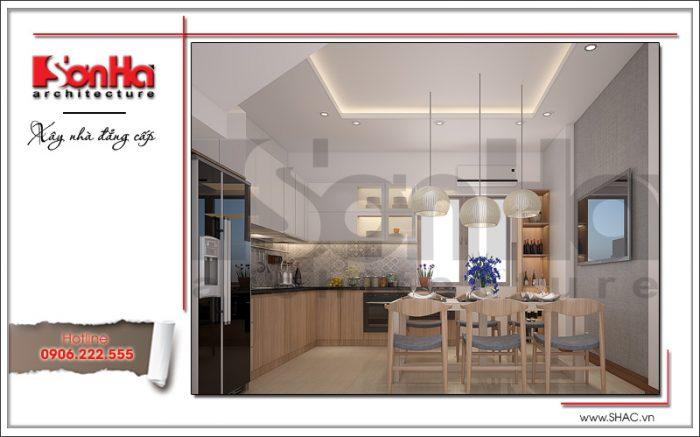 Không gian ẩm thực sang trọng và tiện nghi của mẫu bếp đẹp cho nhà ống kiểu hiện đại