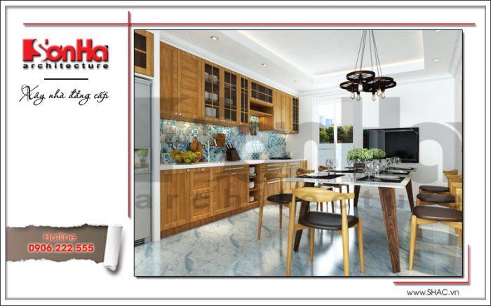 Không gian ẩm thực với thiết kế nội thất hiện đại và tinh tế, tủ bếp và bàn ghế ăn gỗ đẹp