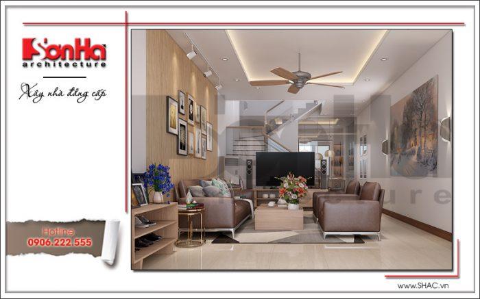 Không gian nội thất phòng khách có thiết kế hiện đại được sắp xếp hợp lý và khá khoa học