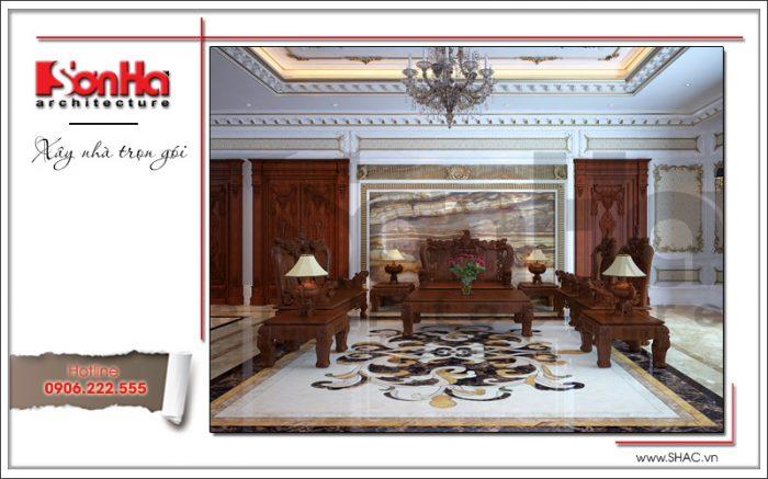 Không gian phòng khách đẹp biệt thự lâu đài với thiết kế nội thất cổ điển sang trọng tinh tế