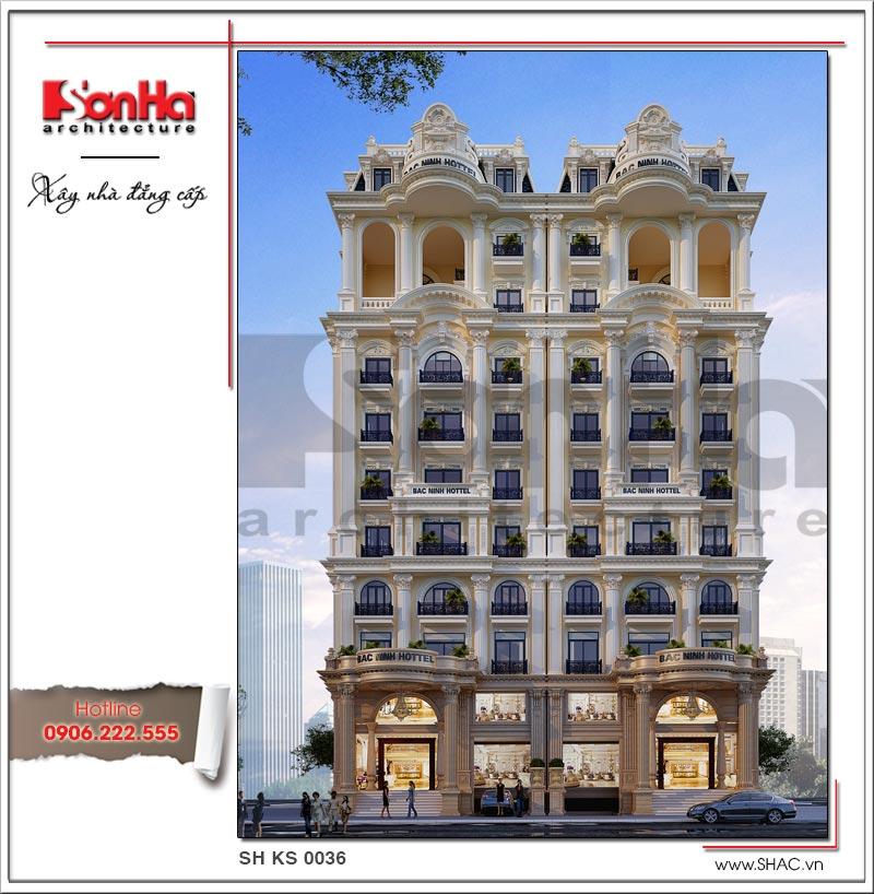 Kiến trúc mặt tiền đẹp của mẫu thiết kế khách sạn 4 sao cổ điển được đánh giá cao của SHAC