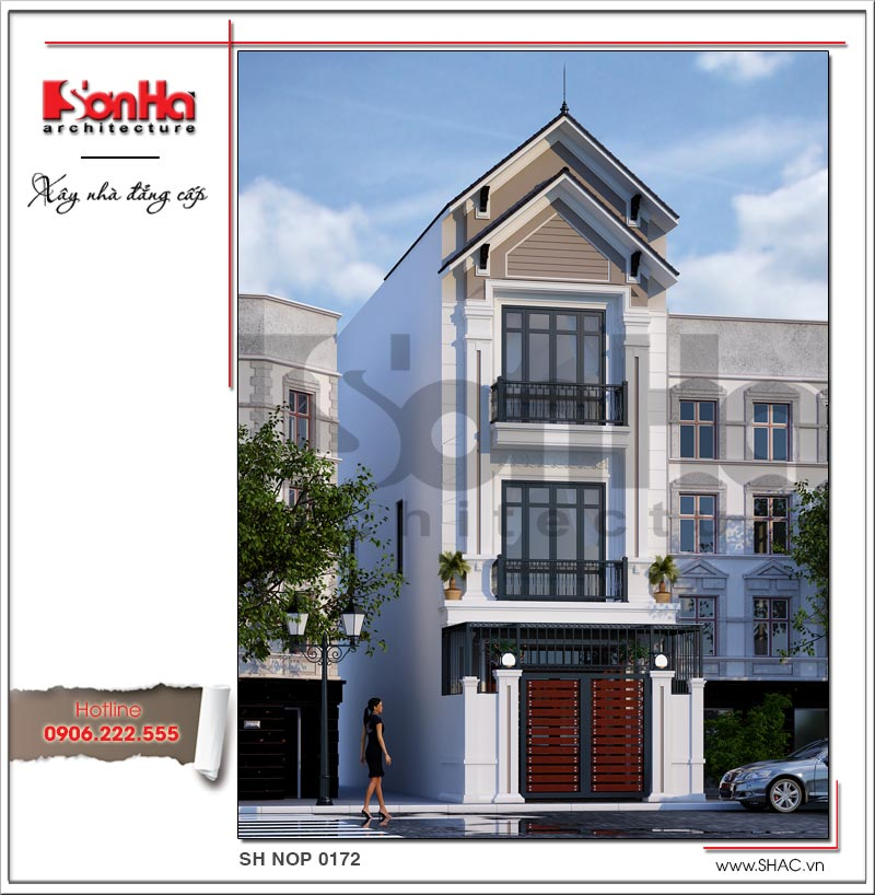 Kiến trúc mặt tiền đẹp và khang trang của mẫu nhà phố phong cách hiện đại sang trọng