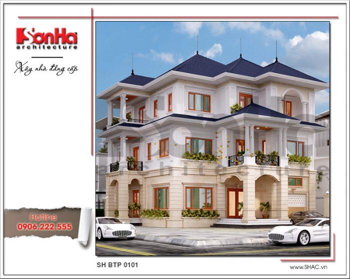 Kiến trúc ngoại thất biệt thự mái thái càng thêm nổi bật với mái thái được thiết kế đẹp