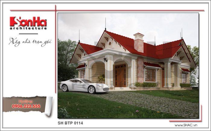 Lối thiết kế mở tạo không gian ngoại thất ấn tượng cho biệt thự mini 1 tầng mái thái đẹp