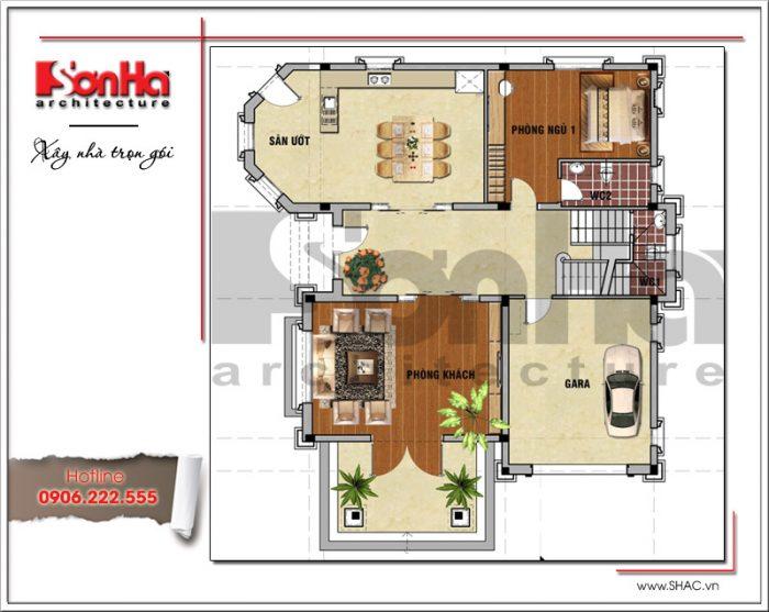 Mẫu biệt thự tân cổ điển 3 tầng đẹp và bản vẽ mặt bằng công năng để xin phép xây dựng nhà ở
