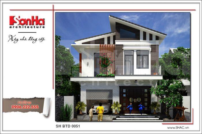 Mẫu mặt tiền nhà đẹp phong cách hiện đại được tạo thành từ các đường nét giản dị tinh tế