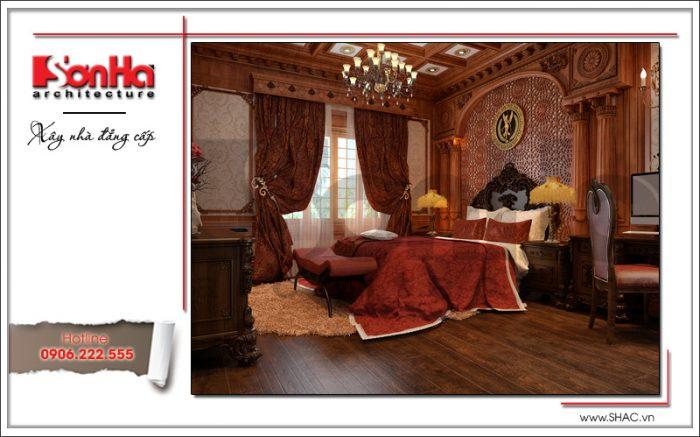 Mẫu phòng ngủ đẳng cấp của biệt thự kiến trúc lâu đài cổ điển 4 tầng tinh tế từng tiểu tiết