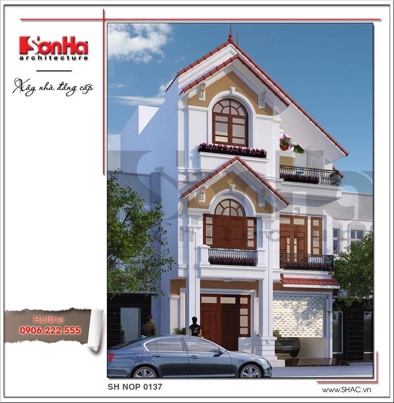 Mẫu thiết kế kiến trúc nhà phố cổ điển đẹp với các chi tiết cách tân tinh tế từng tiểu tiết