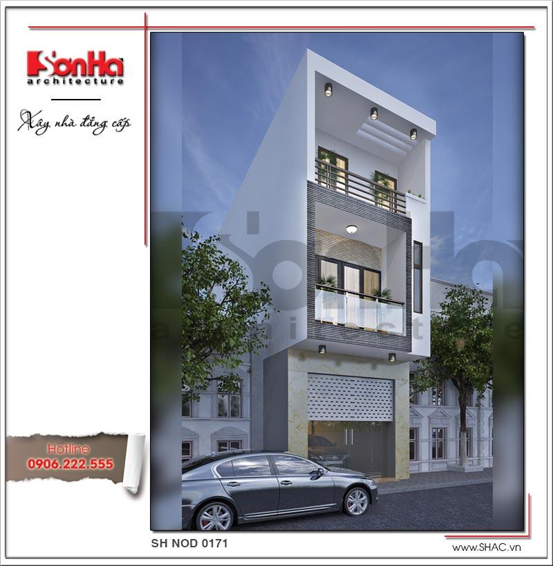 Mẫu thiết kế nhà phố 3 tầng với tạo hình mặt tiền đơn giản mang phong cách hiện đại sang trọng