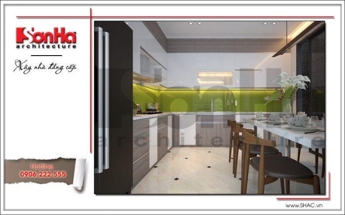 Mẫu thiết kế nội thất phòng bếp ăn nhà ống hiện đại ngay lập tức tạo thiện cảm với CĐT