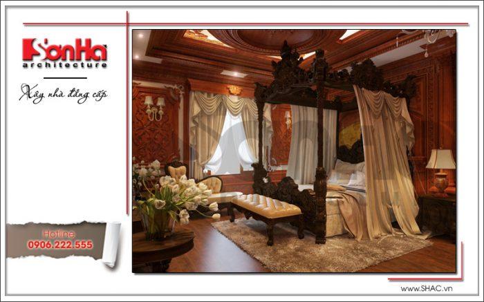 Mẫu thiết kế nội thất phòng ngủ phong cách cổ điển đẳng cấp của ngôi biệt thự 4 tầng lâu đài