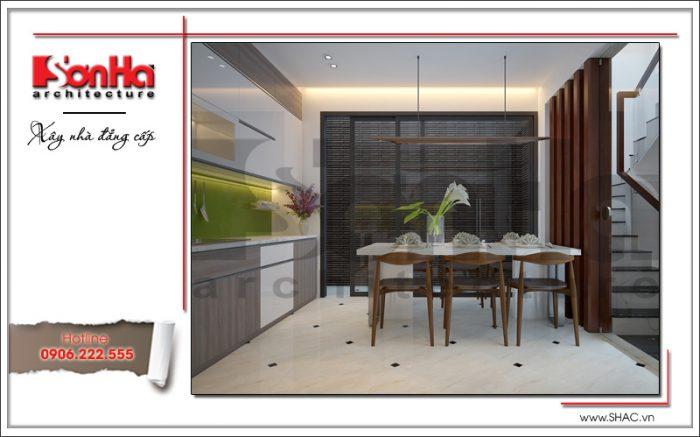 Mẫu thiết kế phòng bếp ăn nhà ống tiện nghi trong không gian nhỏ xinh nhưng tiện nghi