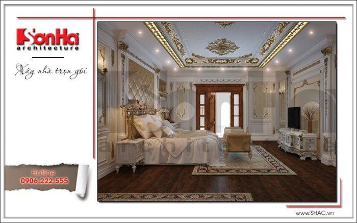 Nội thất phòng ngủ biệt thự lâu đài cổ điển ấn tượng được khéo léo kết hợp màu sắc