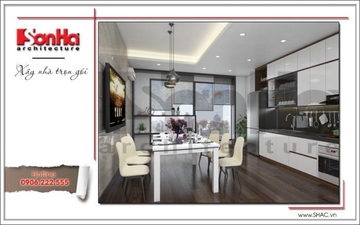 Phòng bếp ăn nhà ống có thiết kế nội thất hiện đại vô cùng tiện nghi đảm bảo không gian đẹp