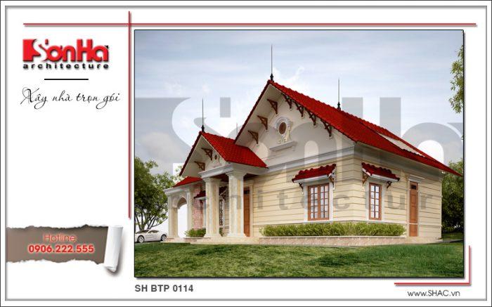 Phương án thiết kế điển hình của mẫu biệt thự 1 tầng phong cách pháp mãn nhãn ấn tượng