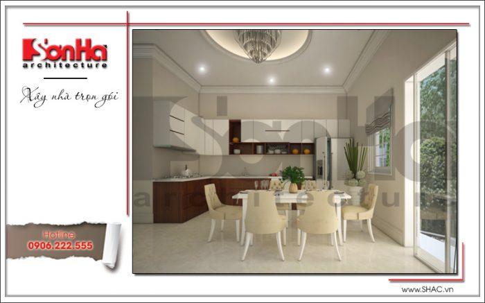 Phương án thiết kế không gian bếp ăn được đánh giá cao với bố cục chặt chẹ từng tiểu tiết